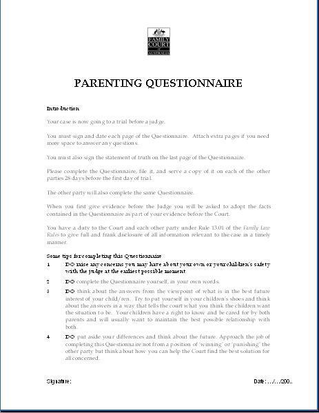Parenting Questionaire