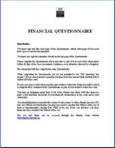 Financial Questionaire